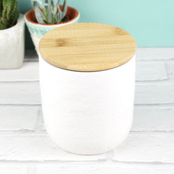 White Ceramic Jar with Wooden Lid