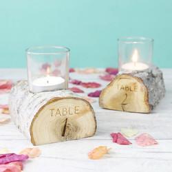 Engraved Table Number Wooden Log Candle Holder