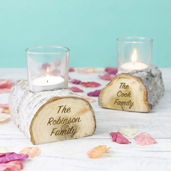 Personalised Wooden Log Candle Holder