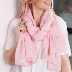 Foil Pineapple Print Pink Scarf