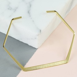 Delicate Open Hexagonal Brushed Bangle in Gold