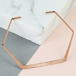 Delicate Open Hexagonal Brushed Bangle in Rose Gold