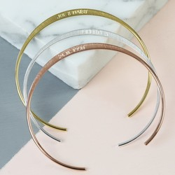 Personalised Delicate Open Circle Brushed Bangle