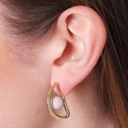 Geometric Pink Matt Ball and Semi Hoop Stud Earrings