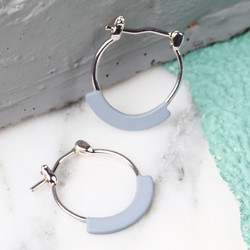 Curved Bar Silver Hoop Earrings in Matt Grey