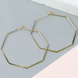 Delicate Octagonal Hoop Earrings in Gold