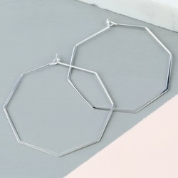 Delicate Geometric Hoop Earrings in Silver