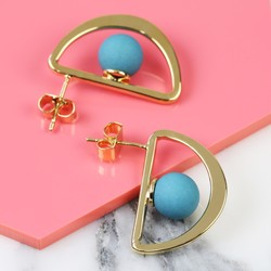 Geometric Teal Matt Ball and Semi Hoop Stud Earrings