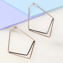 Rose Gold and Black Chevron Hoop Earrings