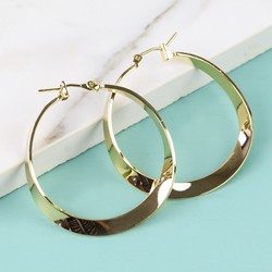 Shiny Gold Twisted Hoop Earrings