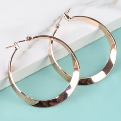Shiny Rose Gold Twisted Hoop Earrings
