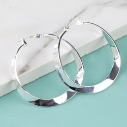 Shiny Silver Twisted Hoop Earrings