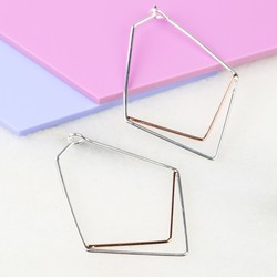 Silver and Rose Gold Chevron Hoop Earrings