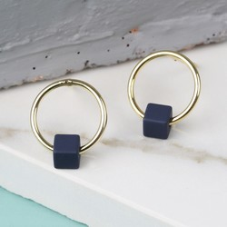 Tiny Gold Hoop Stud Earrings in Matt Navy