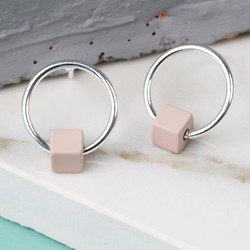 Tiny Silver Hoop Stud Earrings in Matt Dusky Pink
