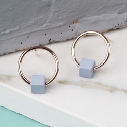 Tiny Rose Gold Hoop Stud Earrings in Matt Grey