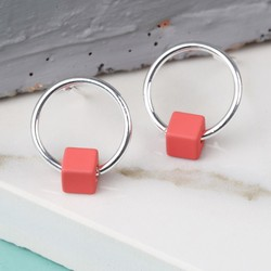 Tiny Silver Hoop Stud Earrings in Matt Red