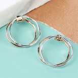 Twisted Double Hoop Stud Earrings in Mixed Metal