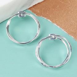 Twisted Double Hoop Stud Earrings in Silver