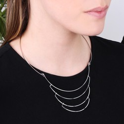 Delicate Layered Metal Collar Necklace in Silver