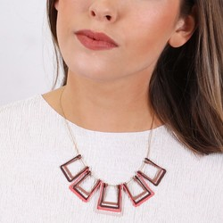 Geometric Layered Matt Squares Necklace in Warm Brown