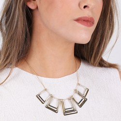 Geometric Layered Squares Necklace in Gold and Silver