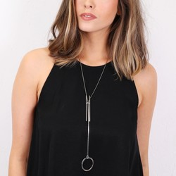 Long Geometric Lariat Necklace in Silver