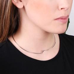 Open Geometric Metal Choker in Silver