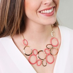 Statement Linked Matt Circles Collar Necklace in Coral