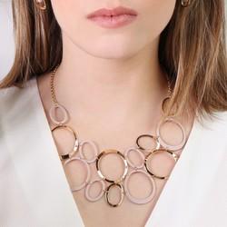 Statement Linked Matt Circles Collar Necklace in Pink