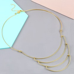 Delicate Layered Metal Collar Necklace in Gold