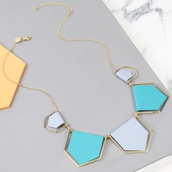 Statement Geometric Matt Collar Necklace in Blue