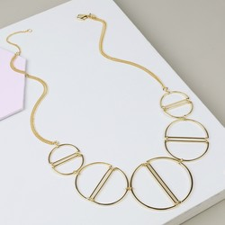 Statement Geometric Circles Necklace in Gold