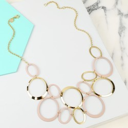 Statement Linked Matt Circles Collar Necklace in Pink