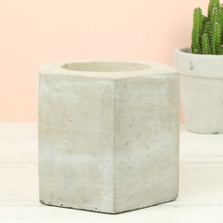 Large Concrete Geometric Hexagon Candle Holder