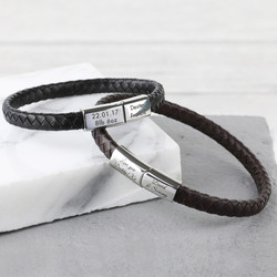 Men's Engraved Woven Bracelet with Magnetic Clasp