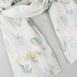Personalised Illustrated Watercolour Cactus Cotton Scarf
