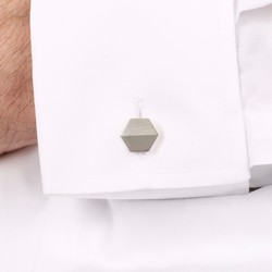 Sterling Silver Brushed and Shiny Hexagonal Cufflinks