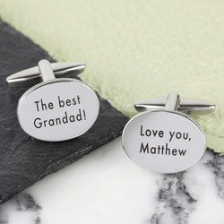 Personalised Men's Silver Oval Cufflinks