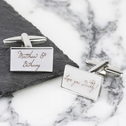Personalised Silver Rectangular Cufflinks