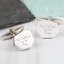 Personalised Men's Silver Cut Cufflinks