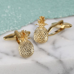 Pineapple Cufflinks in Gold