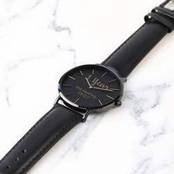 Personalised Lisa Angel Black Watch with Leather Strap