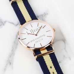 Personalised Lisa Angel Large Face Watch with Nato Strap