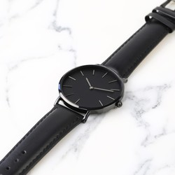 Lisa Angel Black Watch with Leather Strap