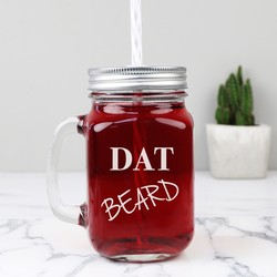 Engraved 'Dat Beard' Mason Jar