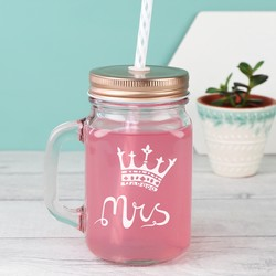 Engraved Mr and Mrs Royal Mason Jar