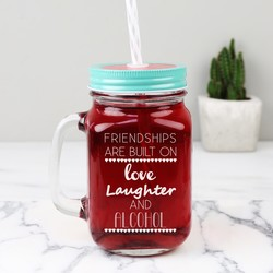 Personalised 'Friendships Are Built On' Mason Jar