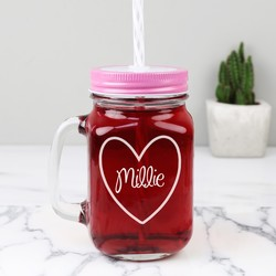 Personalised Mason Drinking Jar with Engraved Heart