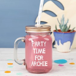 Personalised 'Party Time' Small Mason Jar